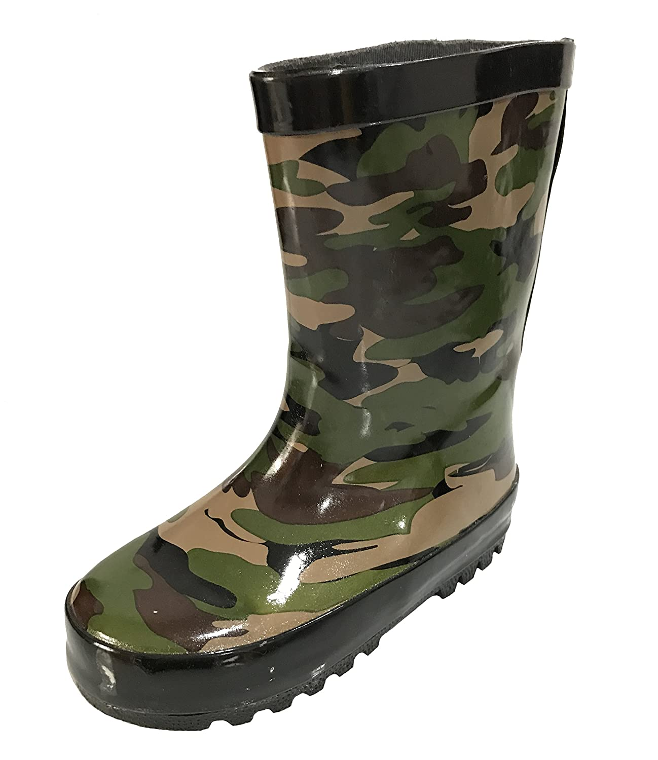 INT Toddler and Youth Boys and Girls Unisex Camouflage Camo Rain Boot Snow Boot Green Black w/Mesh Lining