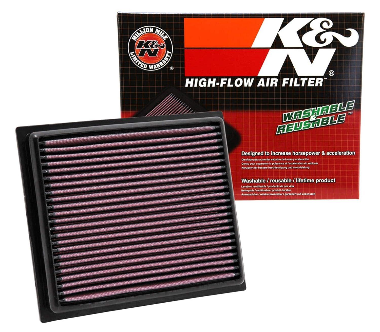 K&N engine air filter, washable and reusable: 2007-2019 Nissan/Infiniti  L4/V6/V8 (Sentra, Juke, Pulsar, Micra, Q50, Q60, Q70, QX70) 33-2409