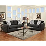 roundhill furniture mazemic microfiber 2 seater sofa and loveseat set with pillows black - Futon Living Room Set
