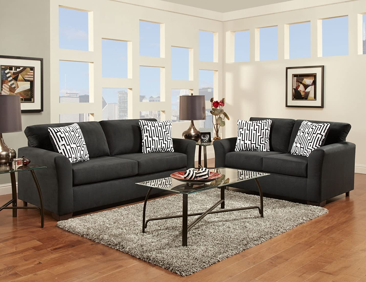 Roundhill Furniture Mazemic Microfiber 2 Seater Sofa and Loveseat Set with Pillows - Black