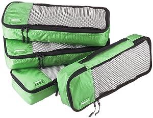 AmazonBasics 4-Piece Packing Cube Set - Slim, Green