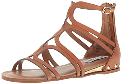bba002c80 Steve Madden Womens Delta Gladiator Flats Sandal Tan Leather 5.5 M US