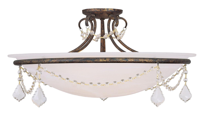 Livex Lighting 6526-71 Hand Applied Chesterfield Pennington 4 Light Ceiling Mount, Venetian golden Bronze
