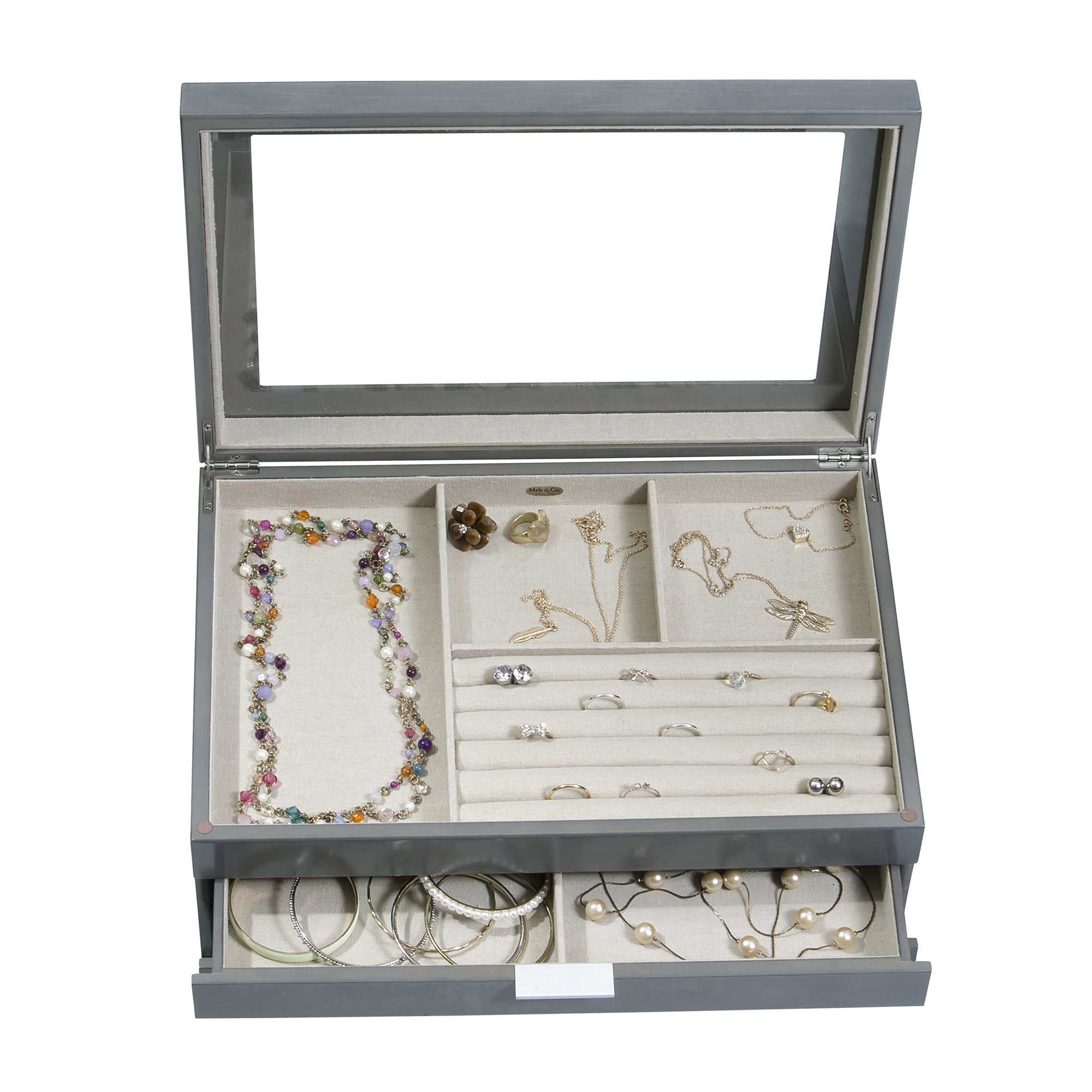Mele & Co. Misty Glass Top Wooden Jewelry Box (Oceanside Grey Finish) by Mele & Co. (Image #5)