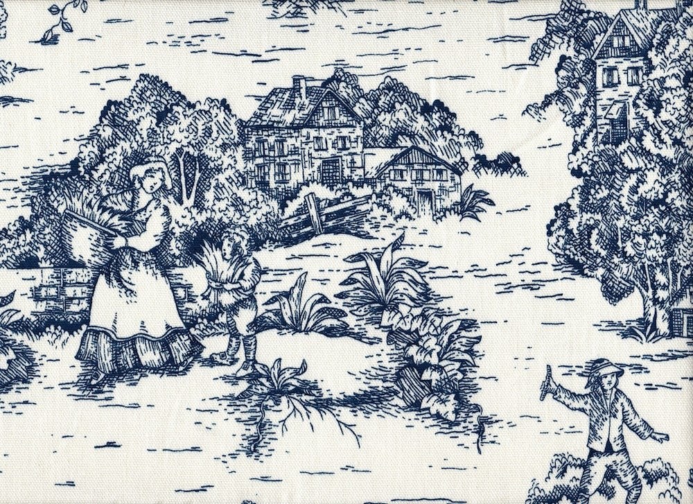 French Country Toile Nautical Blue 75 x 72 inch Cotton Shower Curtain, Unlined