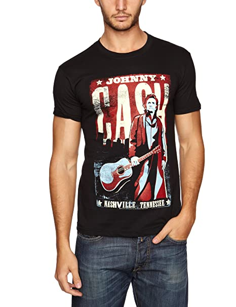 JOHNNY CASH Men/'s T shirt Black NASHVILLE