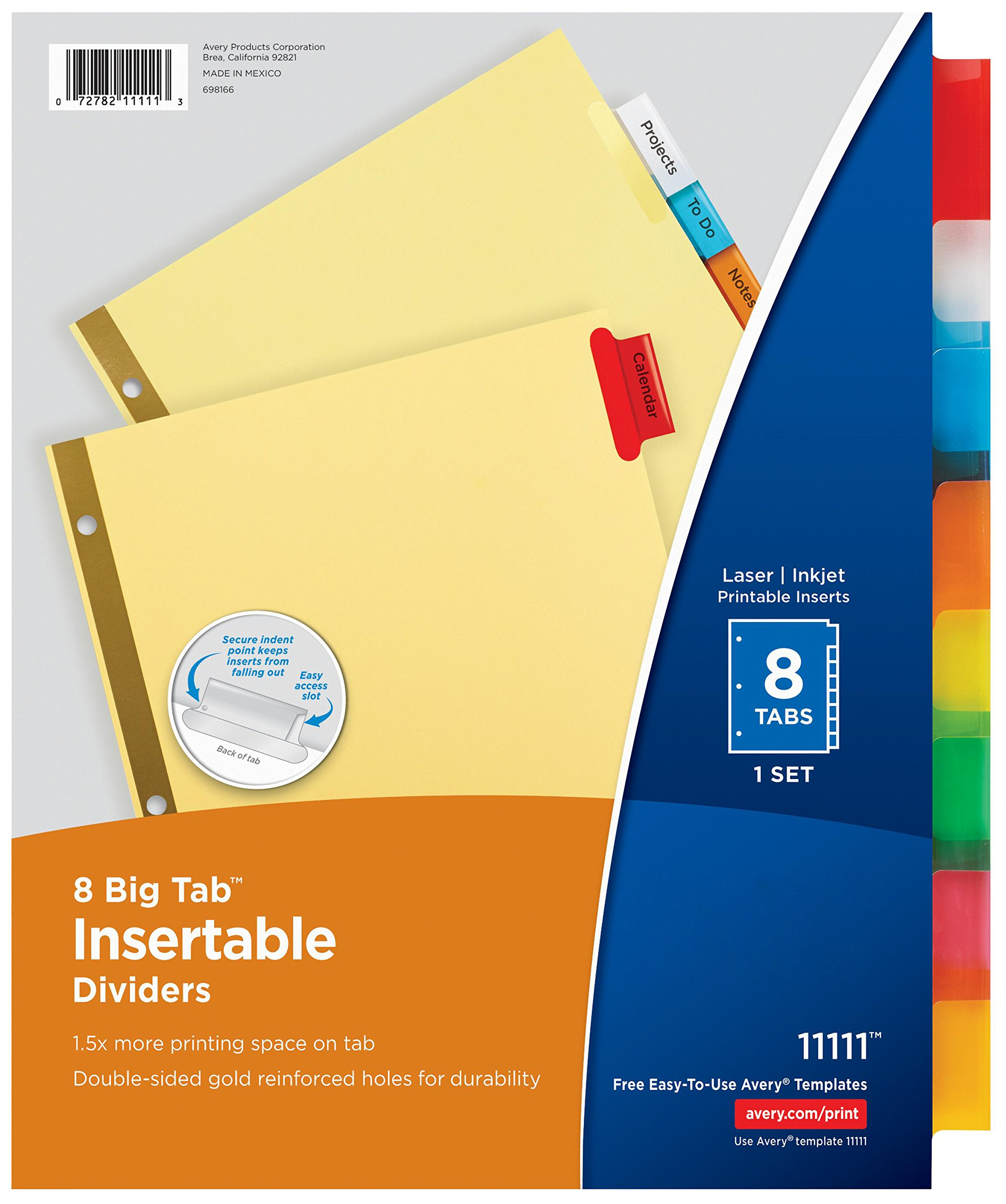 Avery Big Tab Insertable Dividers Buff Paper, 8 Multicolor Tabs, Case Pack of 48 Sets (11111)