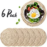 """WEVOGTY 6 Pack Woven Placemats,Round Corn Husk Weave Placemat Braided Rattan Tablemats 11.8"""""""