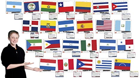 amazon com flags of spanish speaking countries bulletin board set