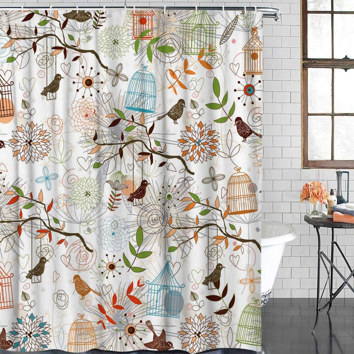 Anzona Generic Personalized Beautiful Bird Cage Flower Leaves Pattern Art Style Picture Design Shower Curtain