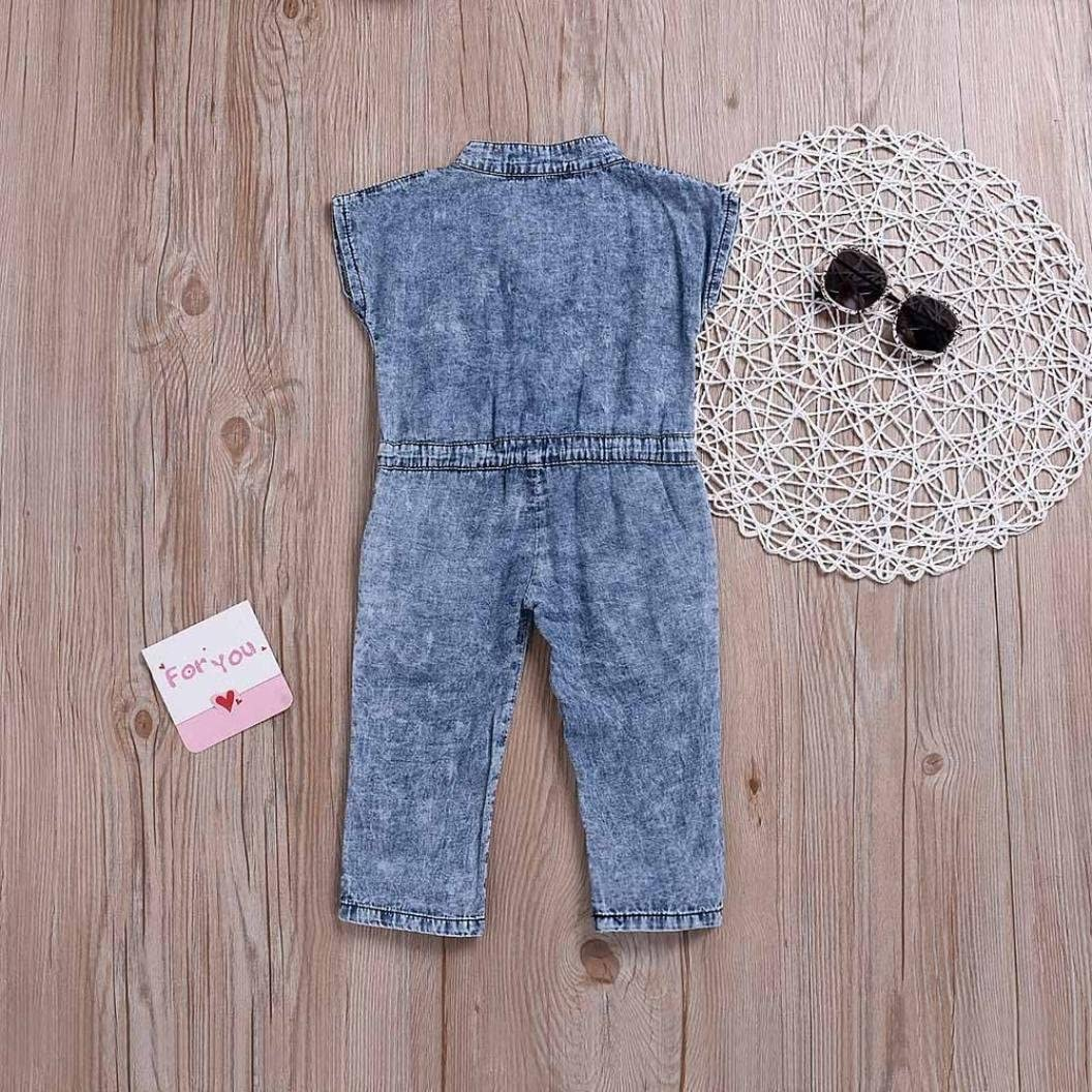 TIFENNY Baby Kids Bowknot Jeans Denim Romper Bodysuit Jumpsuit Casaul Cotton Clothes