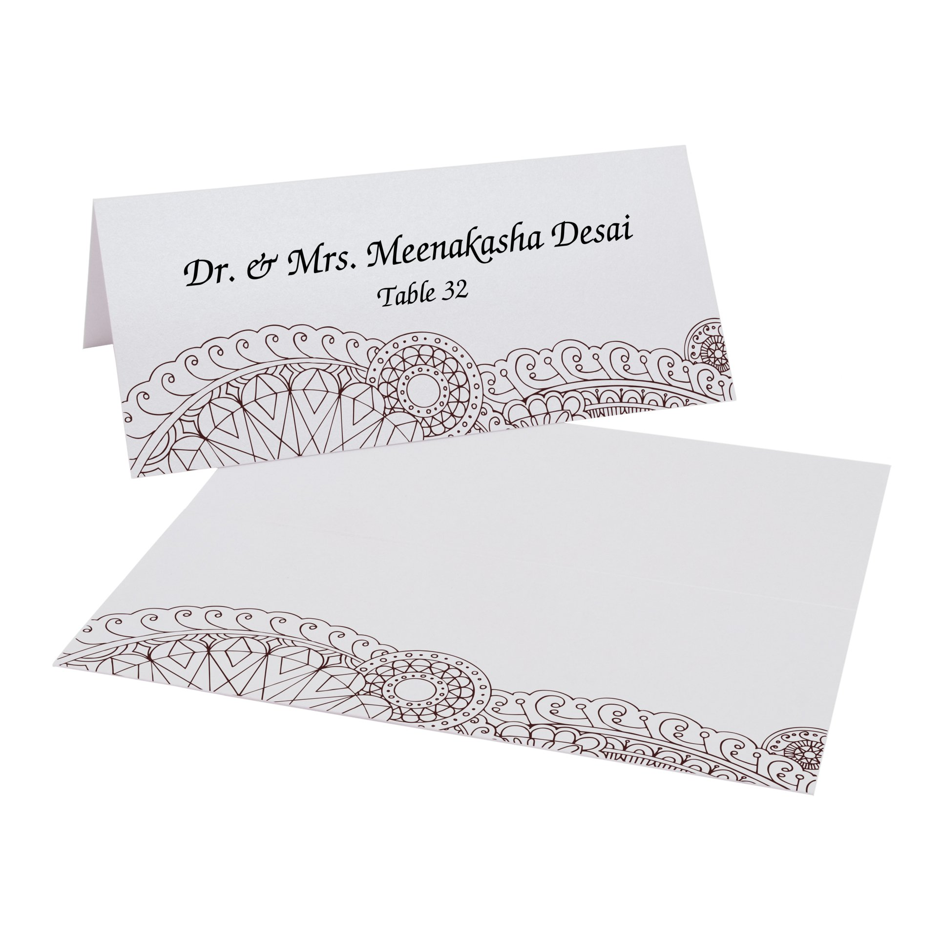 Bottom Paisley Place Cards, Pearl White, Chocolate, Set of 375 by Documents and Designs