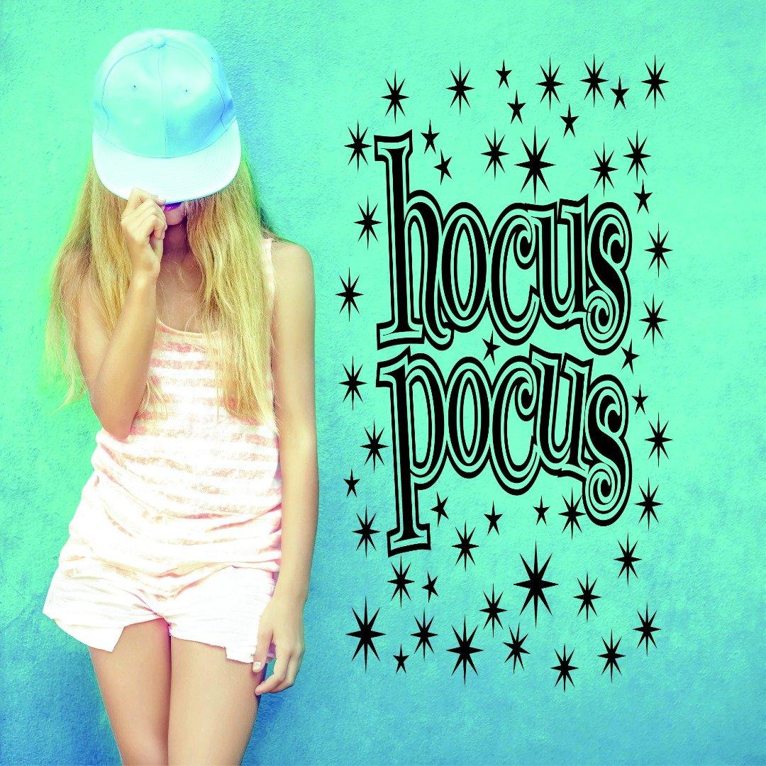 Design with Vinyl RAD 826 2 Hocus Pocus Star Sign Design Wall Decal 16 x 24 Black