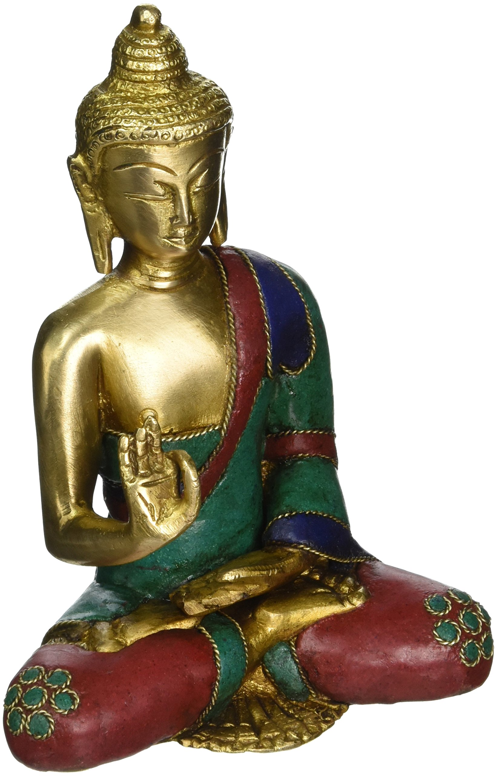 AapnoCraft Thai Blessing/Abhaya Buddha Statue Brass Handmade Shakyamuni Buddha Sculpture Bodhi With Unique Coral & Gemstone Work by AapnoCraft