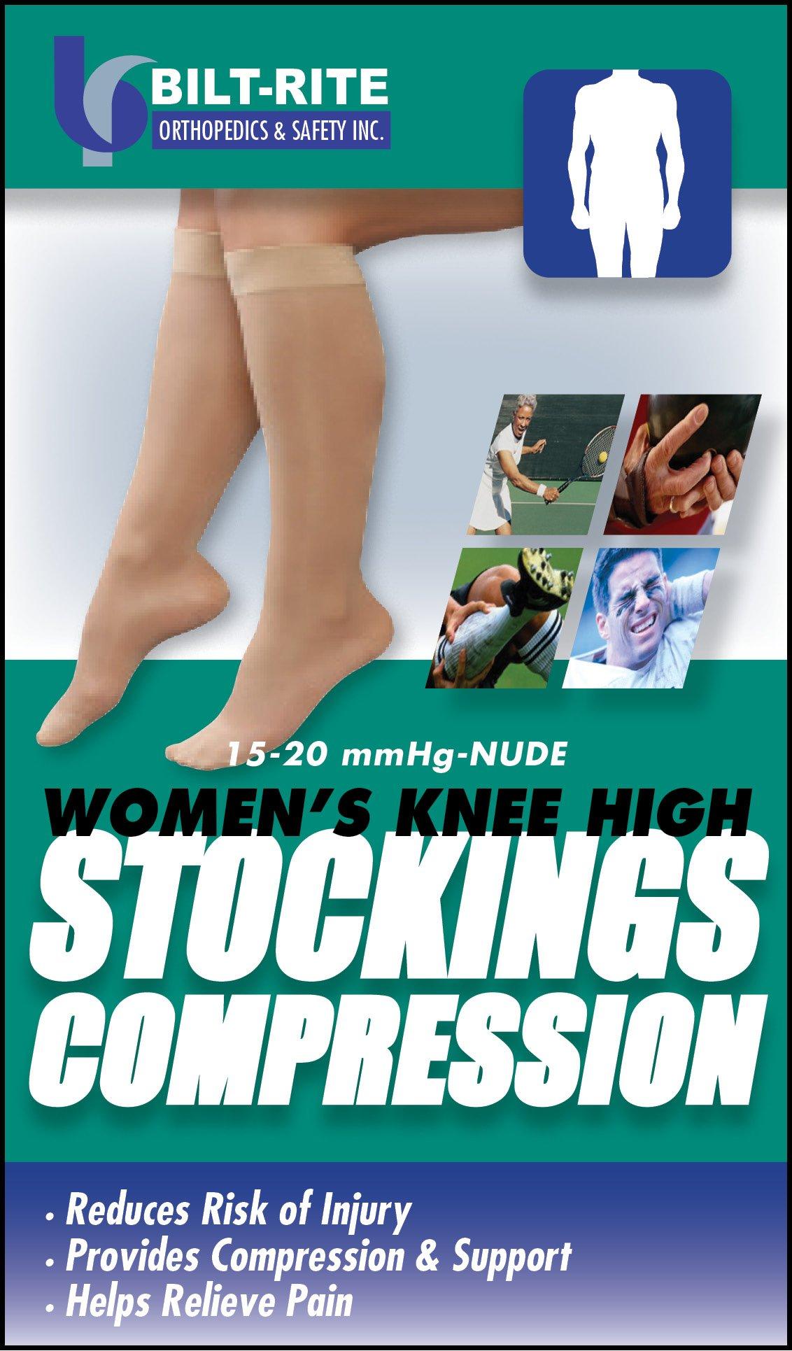 Bilt-Rite Mastex Health Women's Knee High Stockings, Natural, Small