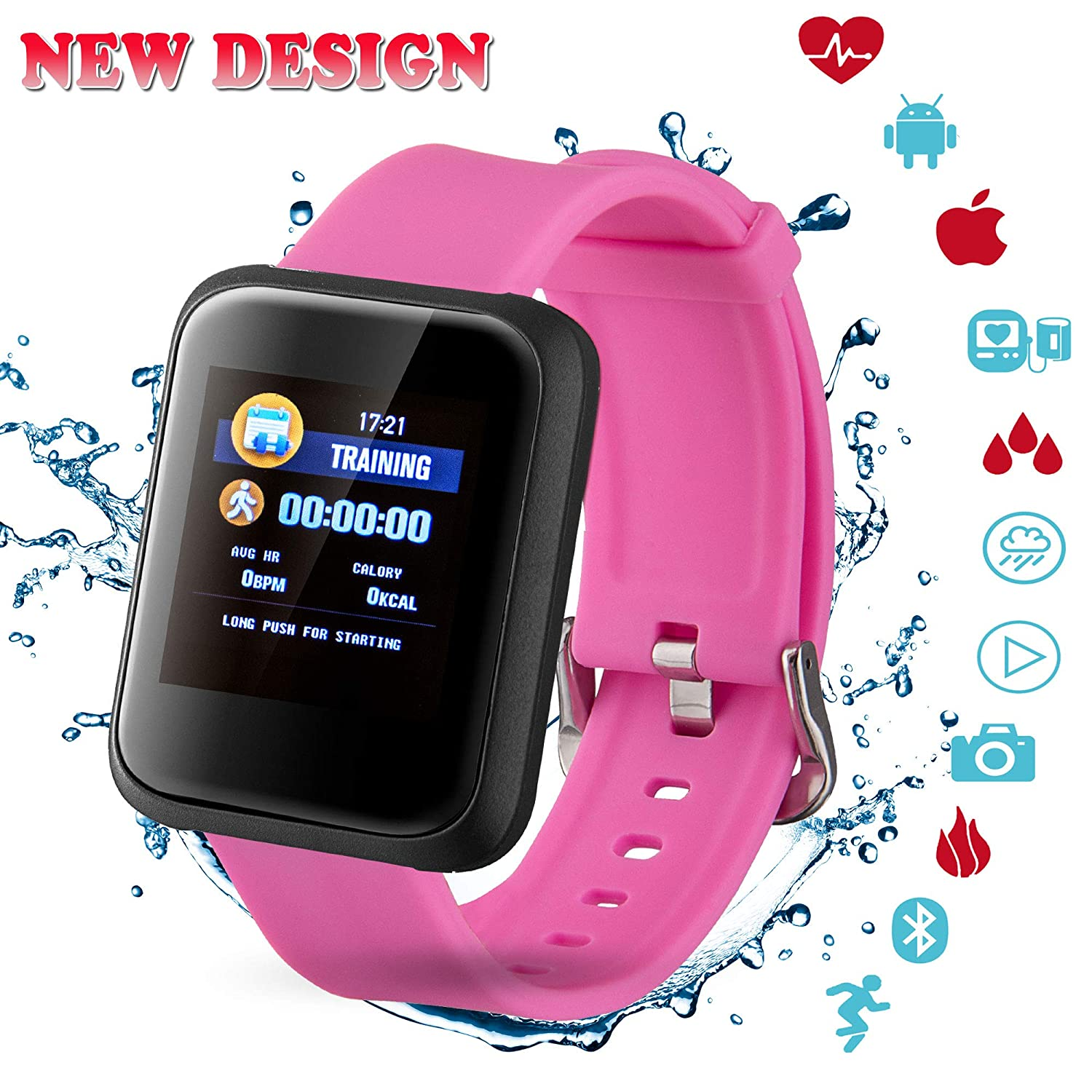 Fitness Tracker, Activity Tracker with Swimming Pedometer Blood Pressure Heart Rate Sleep Monitor Bluetooth Weather Call SMS SNS IP67 Waterproof for Women Men Android IOS phone andmei