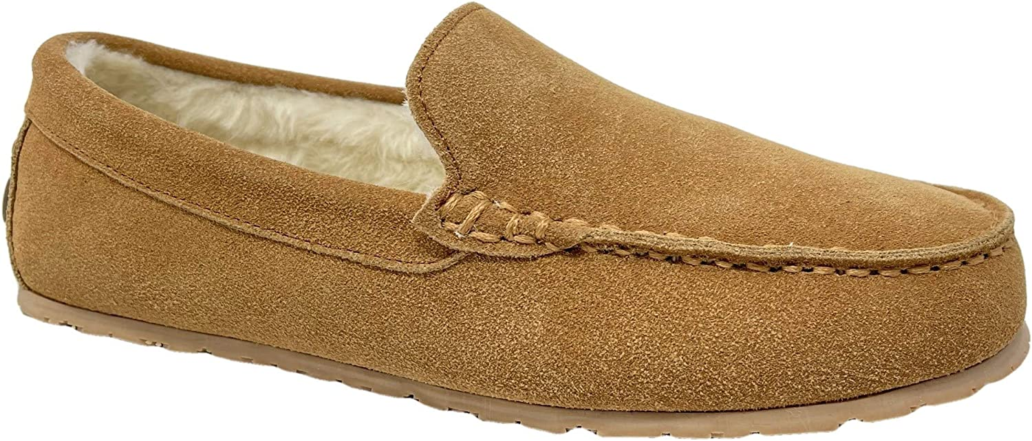 Clarks Mens Suede Moccasin Slippers Warm Cozy Indoor Outdoor Plush Faux Fur Lined Slipper for Men