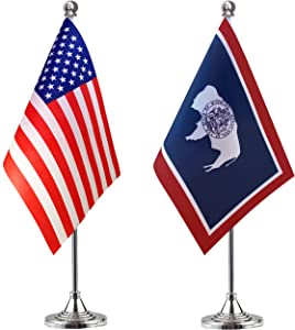 WEITBF Wyoming State Desk Flag Small Mini Wyoming State Office Table Flag with Stand Base,2 Pack