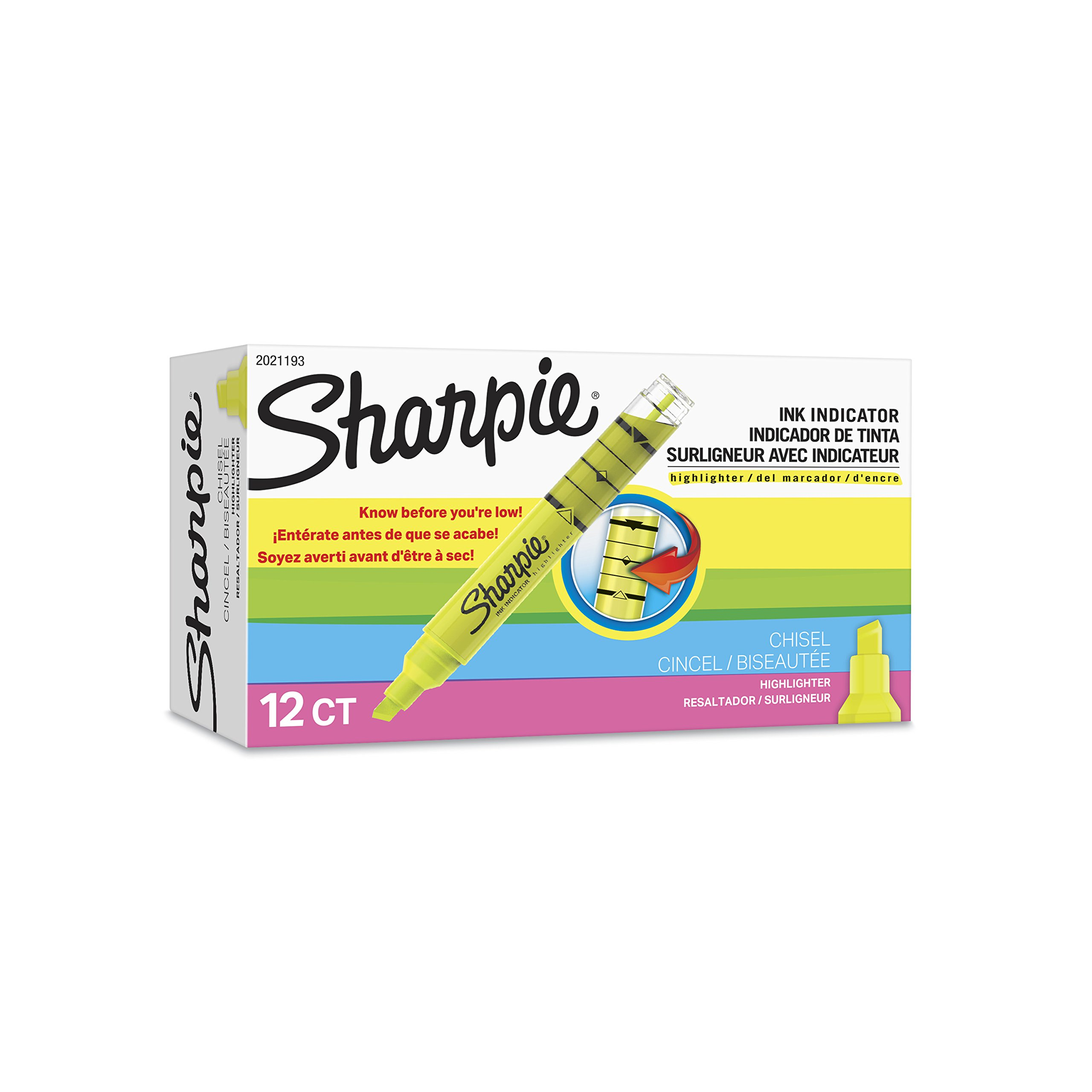 Sharpie Ink Indicator Tank Highlighters, Chisel Tip, Fluorescent Yellow, 12 Count by Sharpie (Image #6)