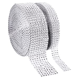 1 Roll 8 Row 10 Yard and 1 Roll 4 Row 10 Yard Acrylic Rhinestone Diamond Ribbon for Wedding Cakes, Birthday Decorations, Baby Shower Events ,Party Supplies, Arts and Crafts Projects (2 rolls Silver)