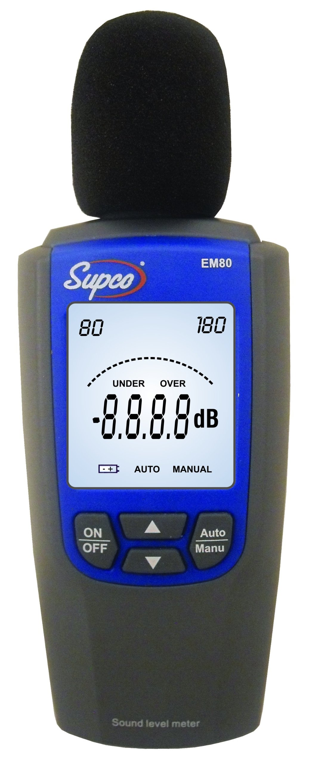 Supco EM80 Sound Level Meter, 2.4'' Length x 1.2'' Width x 6.1'' Height, 30 to 120dB, 1.5 dB Accuracy