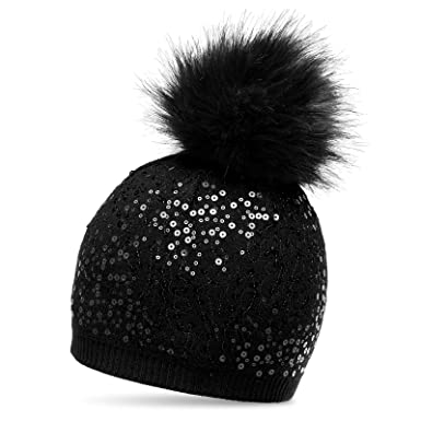 CASPAR MU186 Women Knitted Winter Bobble Hat with Sequin and Large Faux Fur Pom  Pom 00e3aec1229