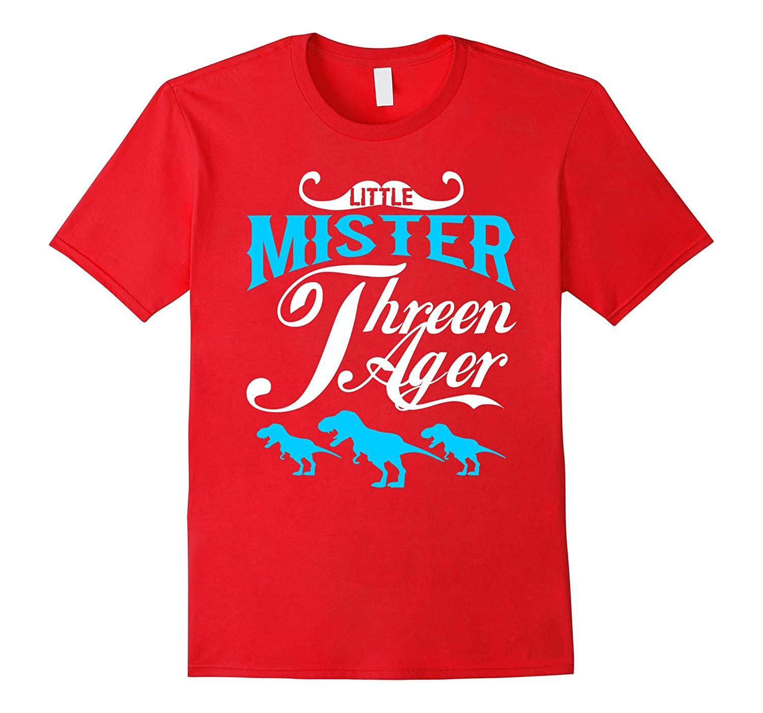 3 Year Old Boy Little Mister Threenager T-Rex 3rd T-Shirt-FL