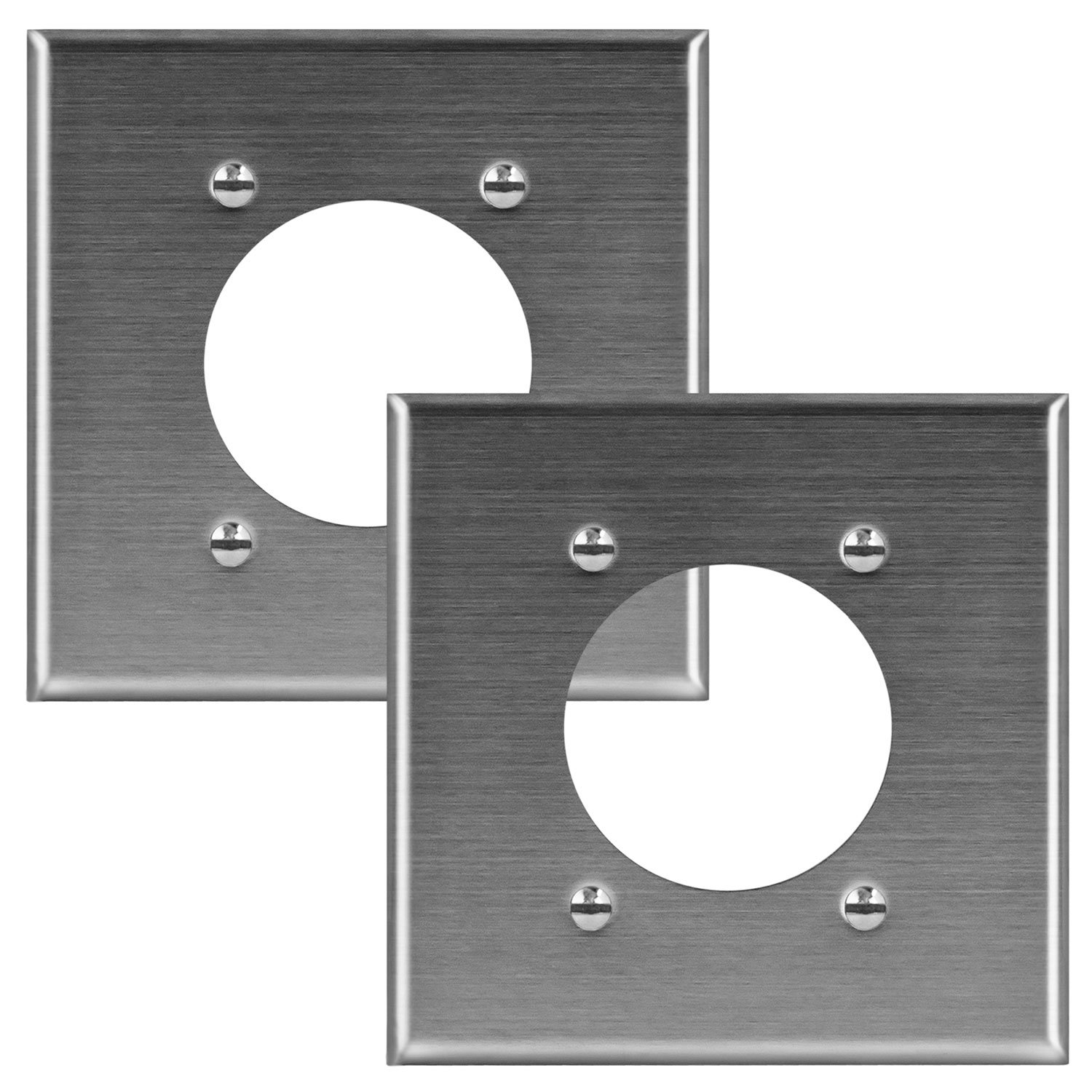 Enerlites 7792-2PCS Stainless Steel Wall Plate for Electrical Dryer/Range Oven Straight Blade Locking Receptacle Power Outlets, 2-Gang Standard Size, 2.125'' Diameter Hole (2 Pack)
