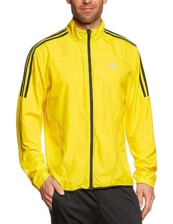 Adidas - Chaqueta de running para hombre, tamaño M, color vivid amarillo/negro: Amazon.es: Ropa y accesorios