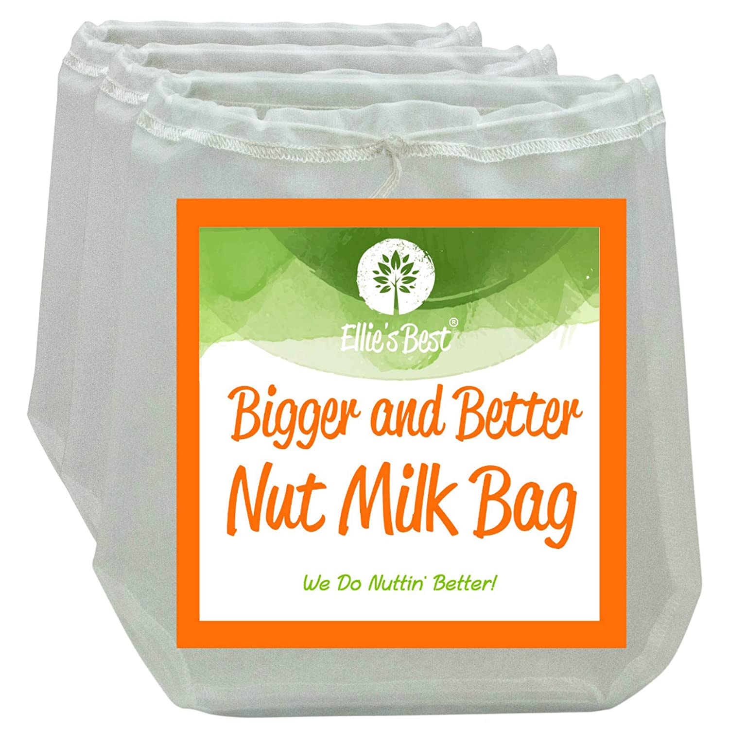 """PRO QUALITY NUT MILK BAGS - 3 Commercial Grade 12""""X12"""" Reusable Almond Milk Bags & All Purpose Food Strainer - Fine Mesh Nylon Cheesecloth & Cold Brew Coffee Filter - Free Recipes & Videos (3 Pak)"""