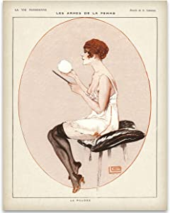 French Powder Room Pink Bathroom Art Print - 11x14 Unframed Print - Great Gift and Decor for Bathroom, Bar and Restaurant Under $15