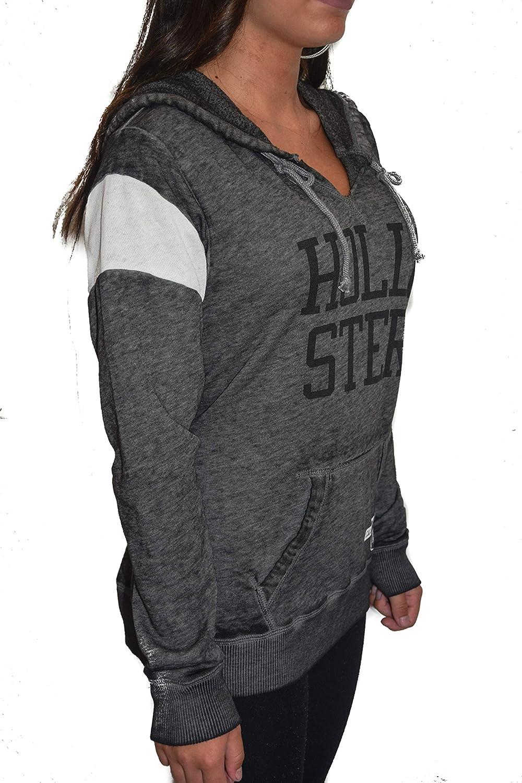 Hollister Damen Sweatshirt Hoodie mit Kapuze dunkelgrau Gr