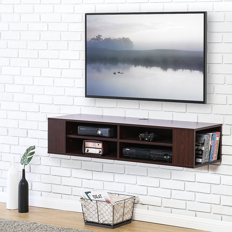 FITUEYES TV Board Niedrigboard Hängeschrank Fernsehschrank Mediawand Wandschrank 120x30x26cm holz Walnuss Farbe DS212001WB