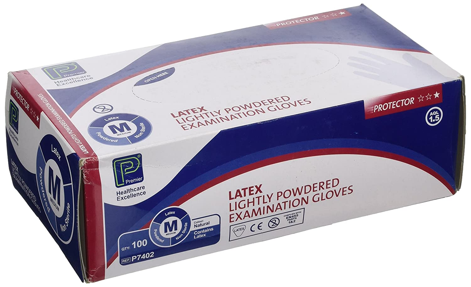 Premier PMP7402 Latex Examination Gloves M Pack of 100