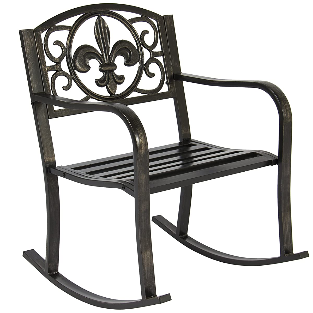 Best Choice Products Metal Rocking Chair Seat for Patio, Porch, Deck, Outdoor w/Scroll Design - Black/Bronze