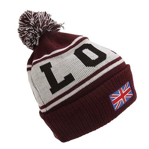 3f4e814c5c7 Devoted II Unisex London Design Pom Pom Winter Beanie Hat (One Size) (Maroon