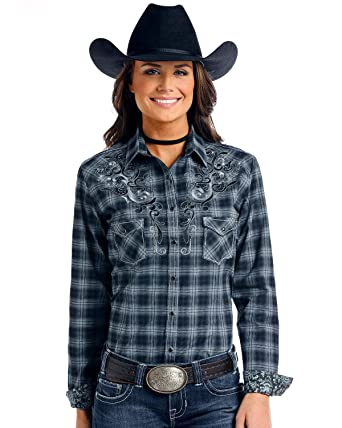 d13d6bf0 Panhandle Women's Rough Stock Bleeker Plaid Long Sleeve Western Shirt Black  Large at Amazon Women's Clothing store: