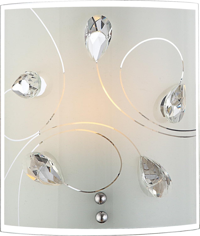 Elegante LED Deckenleuchte chrom Glas opal mit Dekor Kristalle klar 12W  Globo