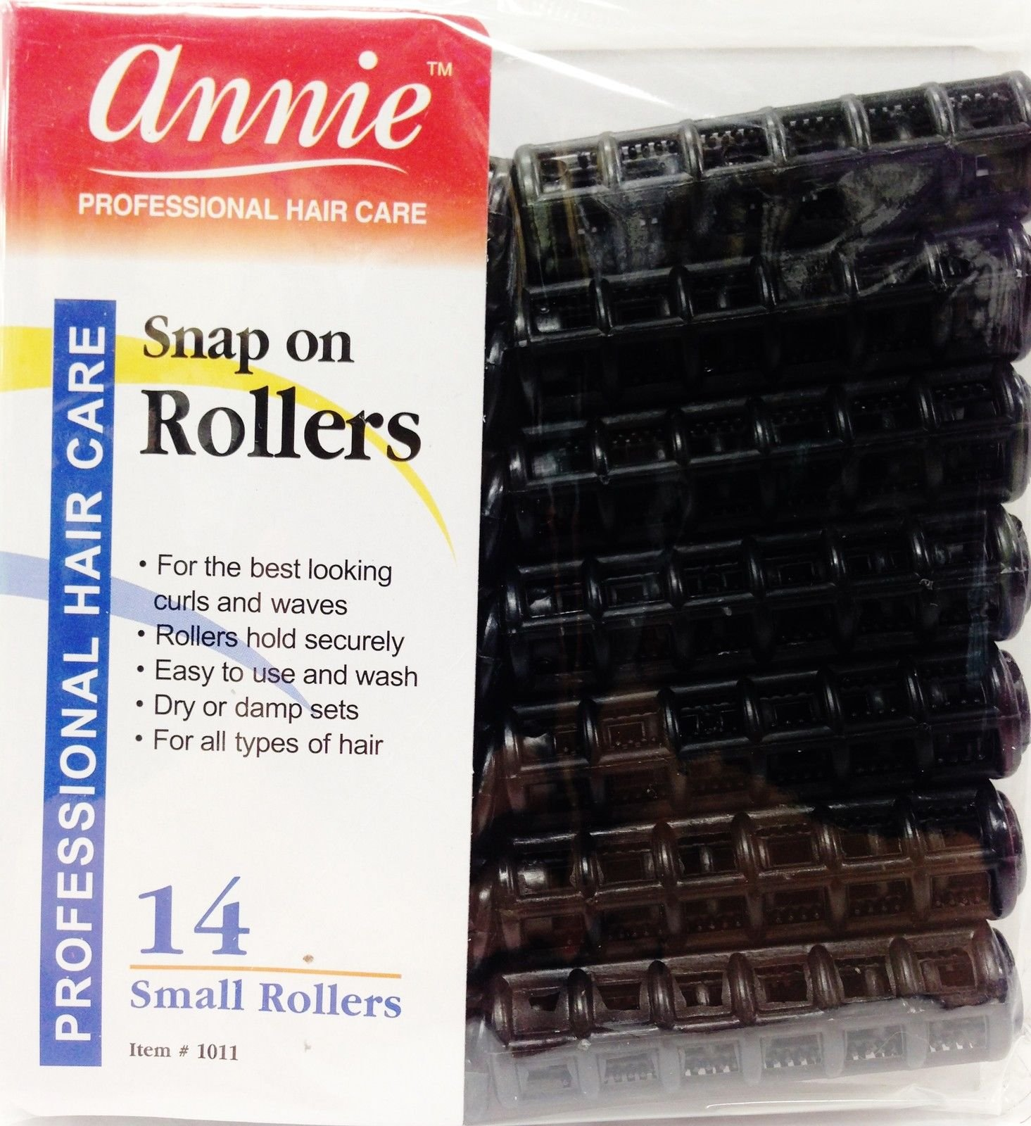 Annie Snap on Rollers 14 Small Rollers 1/2'' No Pins or Clips Needed Black #1011