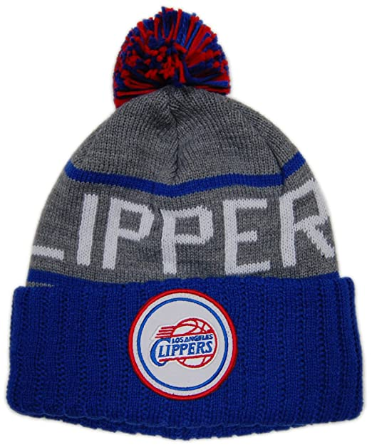 94118202256 Image Unavailable. Image not available for. Color  MITCHELL   NESS CUFFED  KNIT POM BEANIE STRIPE LOGO NBA LOS ANGELES CLIPPER