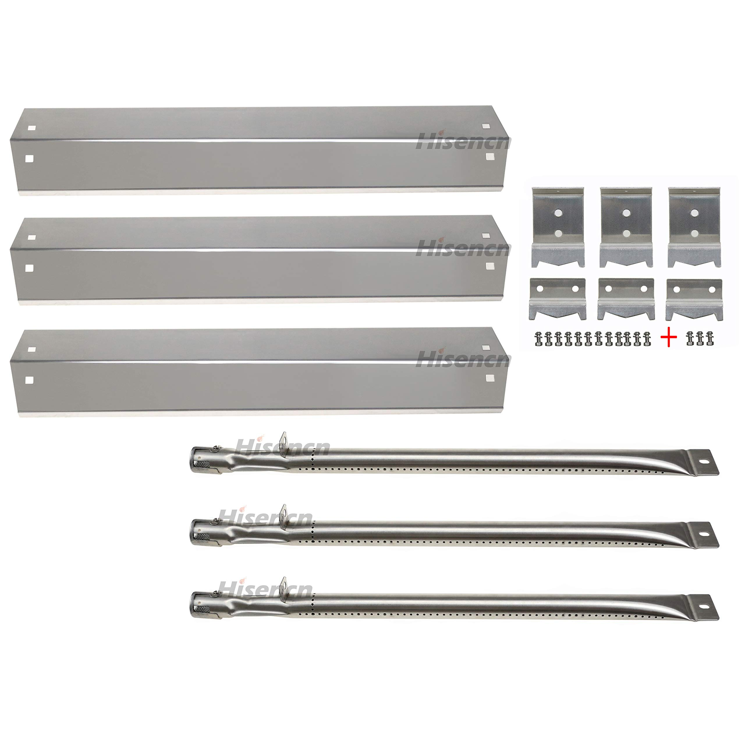 Hisencn Replacement Stainless Steel Burner, Heat Plate, Hanger Brackets for Chargriller 3001, 3008, 3030, 4000, 5050 Gas Grill Repair kit