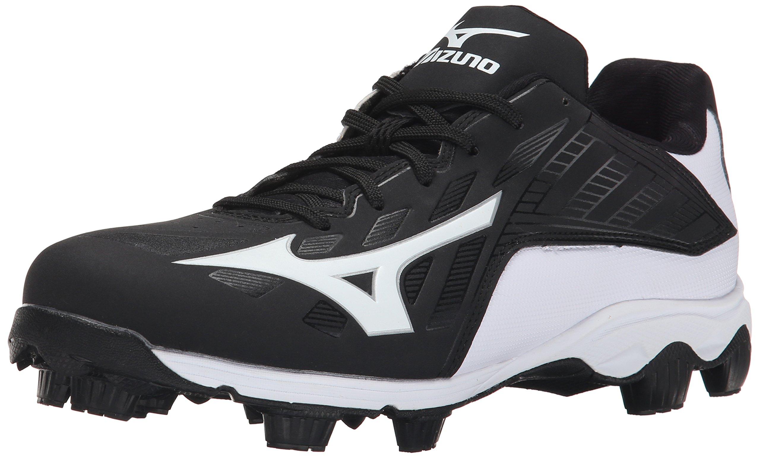 Mizuno Men's 9 Spike ADV Franchise 8 Baseball Cleat, Black/White, 9.5 M US