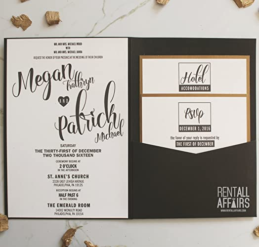 Amazon Com Black And Gold Pocket Fold Wedding Invitations Handmade