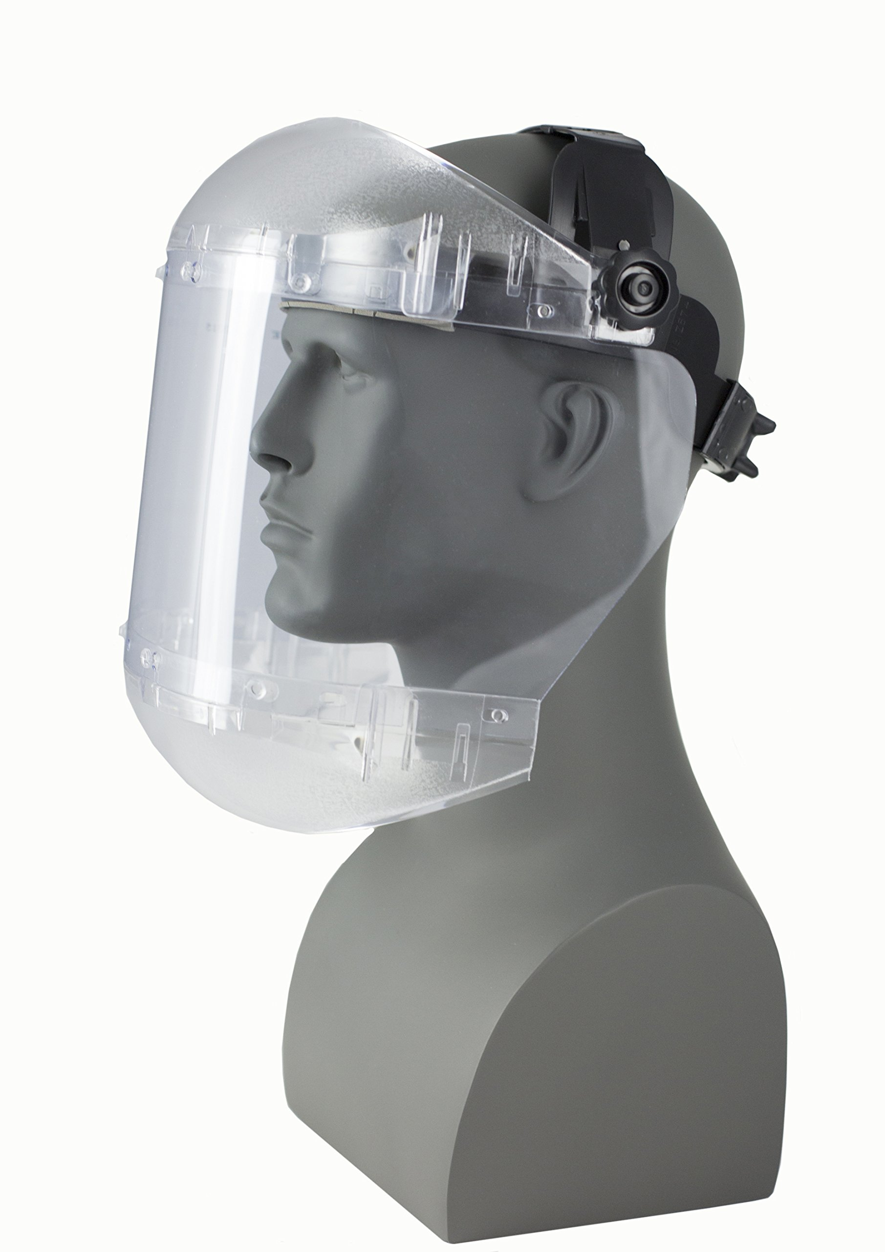 Sellstrom S38440 Max Light Series Face Shield, Anti-Fog Acetate Window with Ratchet Headgear, Universal, Clear, Made in USA