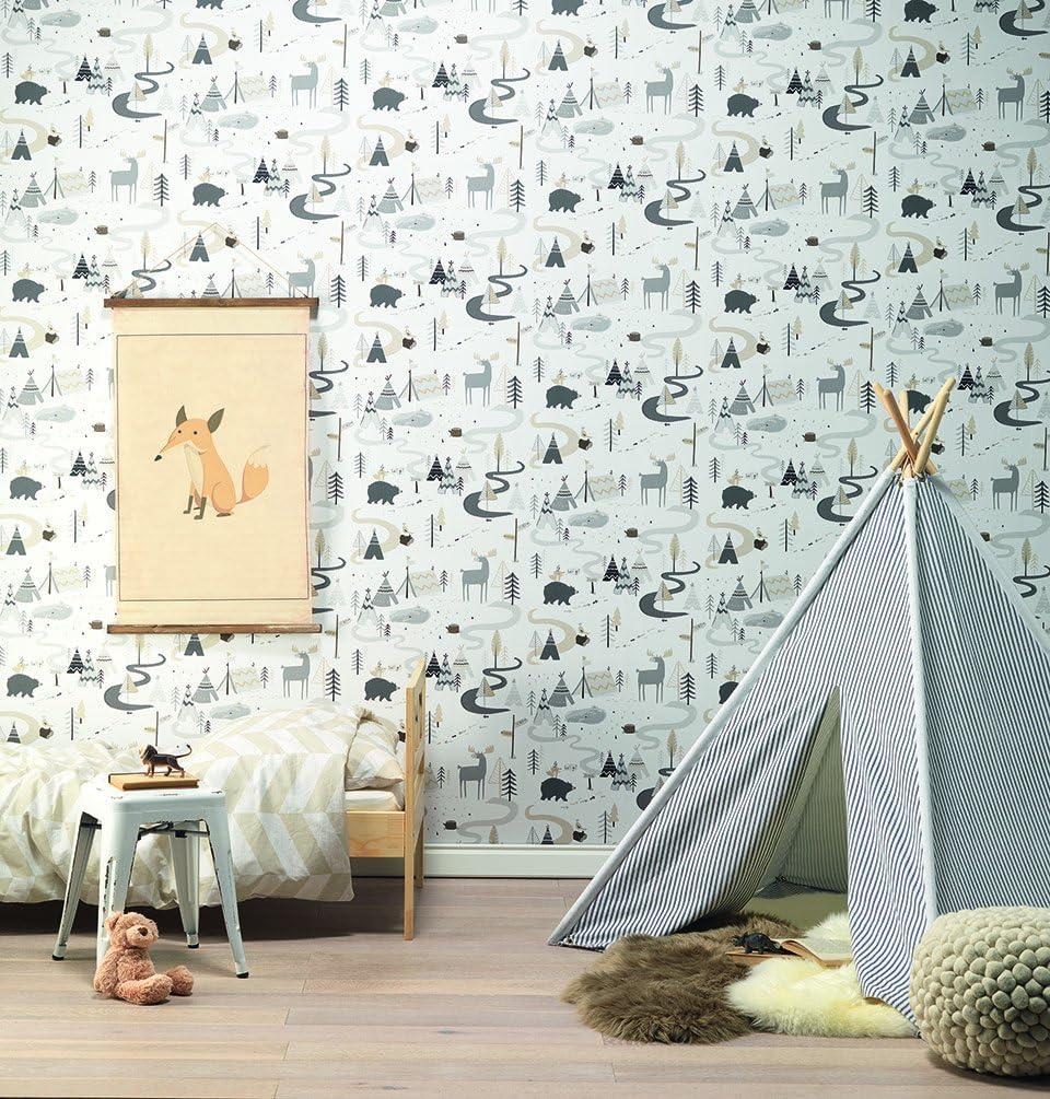 Enfants et adolescents 766714 rasch non-tissé papier peint ville moderne blanc turquoise argent