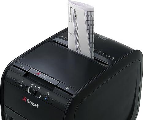 Rexel Aktenvernichter Papiershredder Reißwolf Auto 60X Partikel 4x45mm schwarz