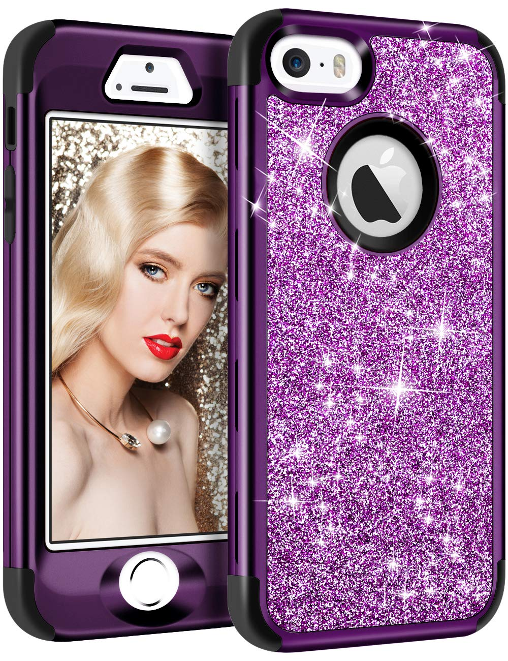 Vofolen Case for iPhone SE Case iPhone 5S Case Glitter Bling Shiny Heavy Duty Protection Full-Body Protective Cover Hard Shell Hybrid Silicone Rubber Armor + Front Bumper for iPhone 5 5S SE Purple