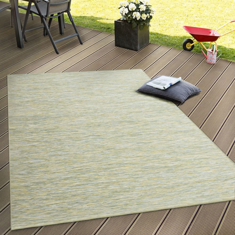 tama/ño:60x100 cm Paco Home Alfombra Interior Y Exterior Tejido Liso Terrazas Transici/ón De Color En Verde