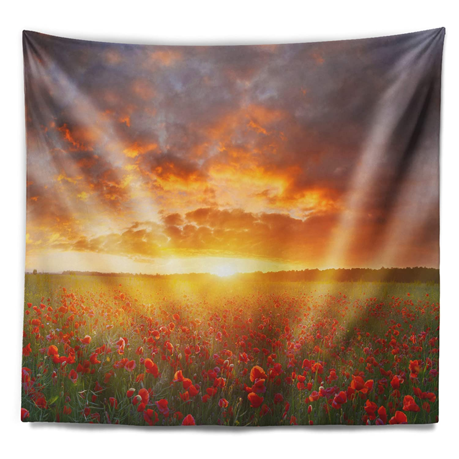 Created On Lightweight Polyester Fabric 60 in Designart TAP15140-60-50  Poppy Field Under Bright Sunset Landscape Blanket D/écor Art for Home and Office Wall Tapestry Large x 50 in