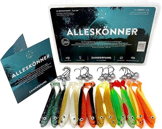 Zanderfang 56 Teile Box Gummifische mit Jigk/öpfen zum Zanderangeln mit Gummifisch Snaps 16 Jigk/öpfe Gr/ö/ße 2//0: 5-20 Gramm 10 Einh/änger GLASAUGENBOX 30 Gummifische: 6 Farben; 9,5 cm